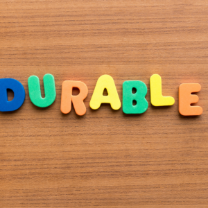 """The word """"durable"""" on a desk."""