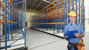 Employee reviewing a racking system.