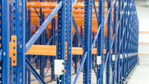 Blue racking shelving in a warehouse.