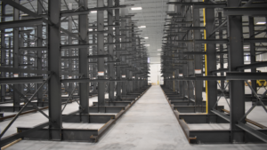 A large racking system in a warehouse.