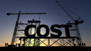 """Construction with the text """"COST"""" on top of the structure."""